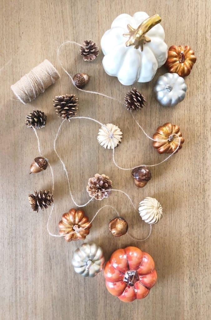 Diy Fall Garland Using Pumpkins Pine Cones And Acorns Making Home Pretty